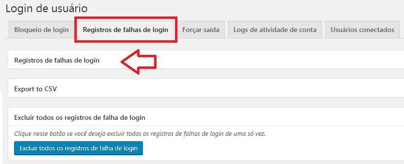 All in One WP Security registrando falhas de login