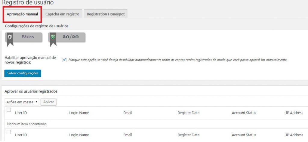 registro de usuário - aprovação manual